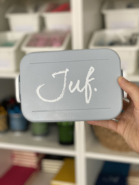 Lichtblauw/grijs JUF. Lunchbox Krijt