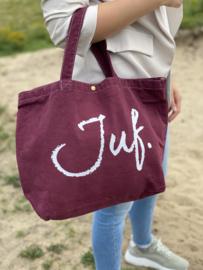 Bordeaux JUF. Canvas shopper Krijt (Dubbelzijdig)