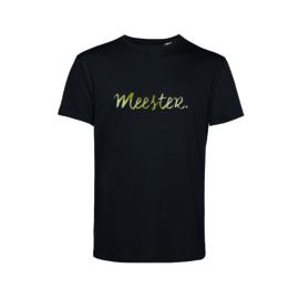 Zwart MEESTER. shirt Krijt met Glanzend Goud