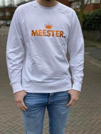 Wit MEESTER. Lightweight Sweater Klas met glanzend Oranje