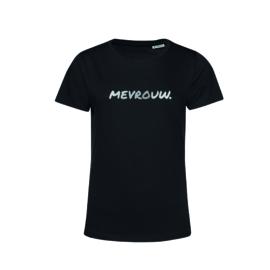 Zwart MEVROUW. shirt Ronde hals krijt met Glanzend Zilver