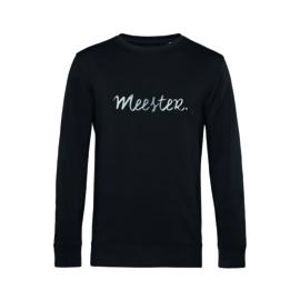Zwart MEESTER. Sweater Krijt met Glanzend Zilver