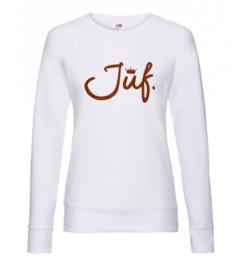 Wit JUF. Ladyfit Sweater Krijt met glitter Oranje