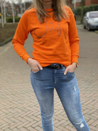 Oranje JUF. Ladyfit Sweater Krijt met glitter Oranje