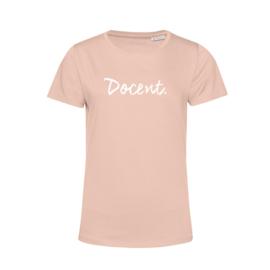 Pastel roze DOCENT. Shirt Ronde hals Krijt