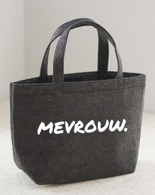 Donkergrijs MEVROUW. Vilten shopper (Dubbelzijdig)