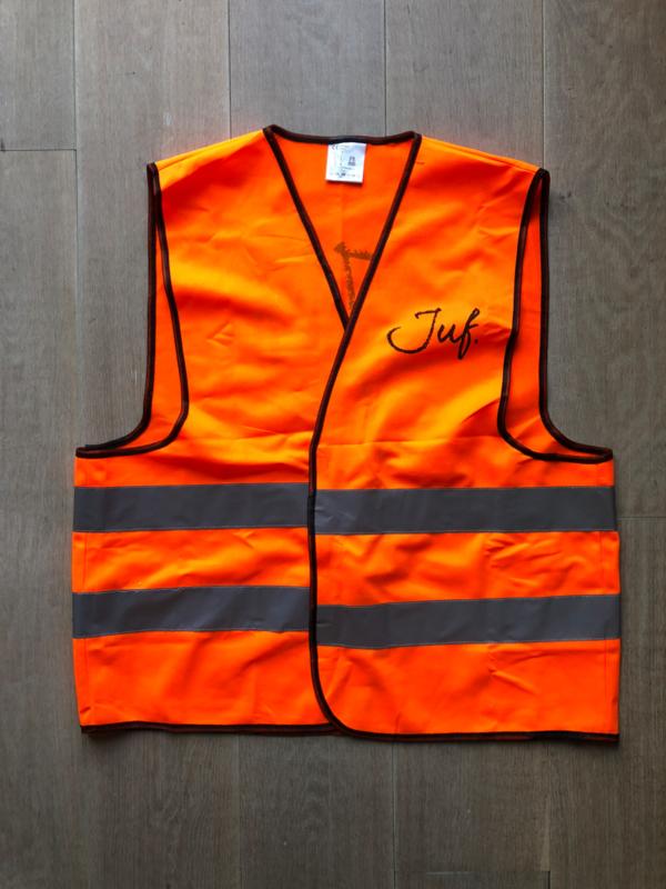 Fluor Oranje JUF. Veiligheidsvestje Krijt