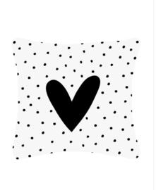 Wit buitenkussen met hart en dots