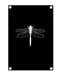 Tuinposter zwart met witte libelle