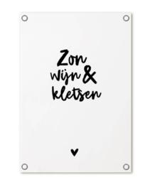 Tuinposter 'Zon wijn & kletsen'