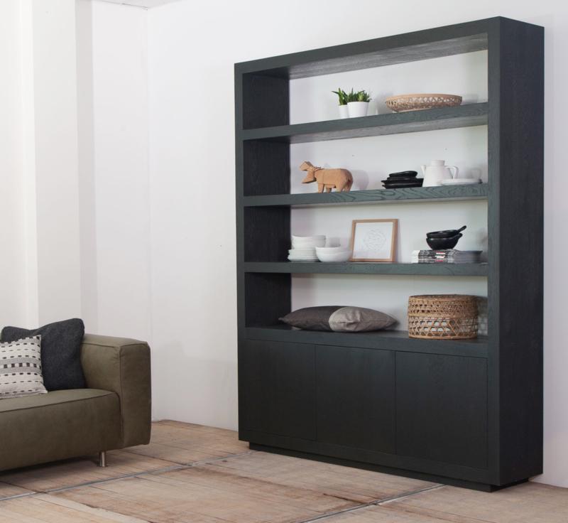 Zwarte Dichte Kast.Kasten Strakke Vakkenkasten Boekenkasten Moderne Kasten