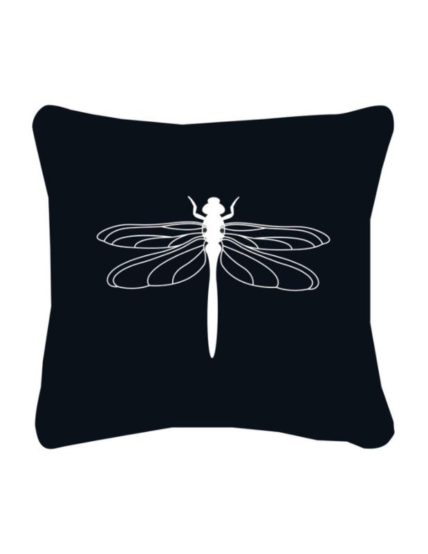 Zwart buitenkussen met witte libelle