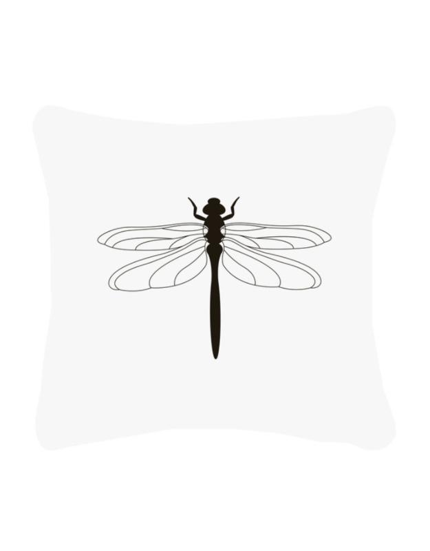 Buitenkussen wit met zwarte libelle