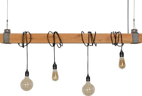 Hanglamp 4 lichts rustieke balk
