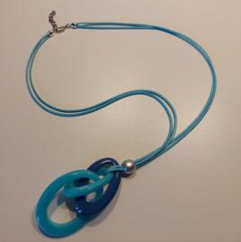 Lange ketting zee blauwe tinten