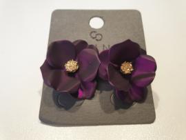 Oorbellen bloem paars