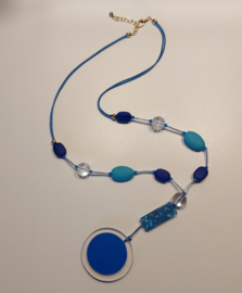 Lange ketting blauw turquoise