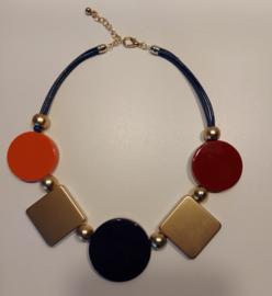 Ketting oranje blauw bordeau goud