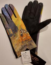 Handschoenen Van Gogh, terras bij nacht