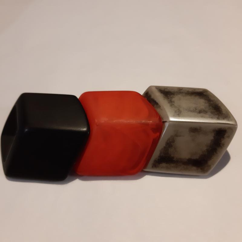Cube combinatie, rood, zilver-messing, zwart
