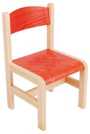 Hout stoel, rood maat 1-3