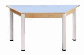 Beukenhouten trapezium tafel 120 x 60 cm. verstelbare metalen poten