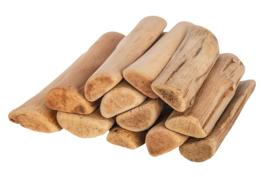 Knutsel drijfhout afgeronde kant  lengte 8 cm  250 gram