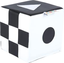 Contrast kubus  15x15x15cm - Zwart /wit