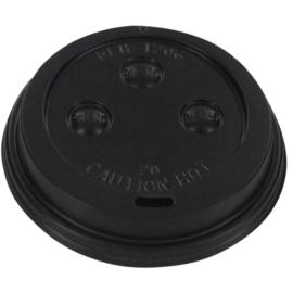 Bekerdeksel Ø70mm met drinkgat zwart 50 stuks