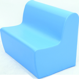 Bank hoog zithoogte 34 cm. - lichtblauw