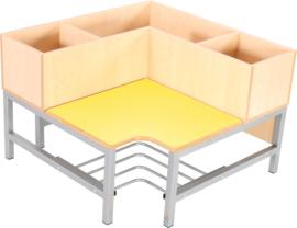 Flexi garderobe hoekbank 3, zithoogte 35 cm, geel