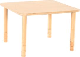 Vierkante Flexi tafel 80x80cm beuken in hoogte verstelbaar