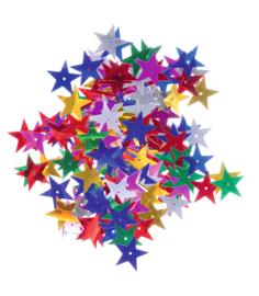 Pailletten mix 25x25mm 6 gram - Grote sterren