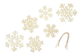 Houten hangers - sneeuwvlokken