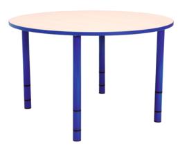 Ronde Quint-tafel 90 cm met blauwe rand en in  40-58cm hoogte verstelbaar