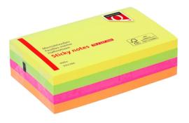 Memoblaadjes Quantore 76x127mm neon assorti 4 kleuren