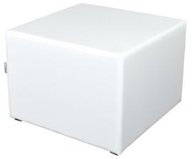 Vierkante witte poef zithoogte 44 cm