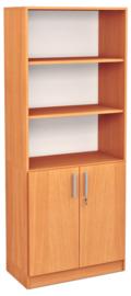 Expo hoge boekenkast met 3 open vakken - beuken