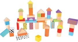 Houten blokken - kleuren, 50 stuks