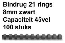 Bindrug Fellowes 8mm 21rings A4 zwart 100stuks