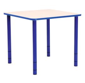 Vierkante Quint-tafel 65 x 65 cm met blauwe rand 40-58cm hoogte verstelbaar