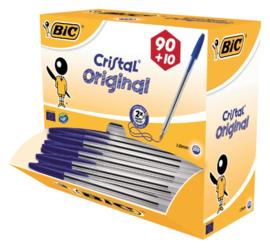 Balpen Bic Cristal blauw medium doos 90+10 gratis