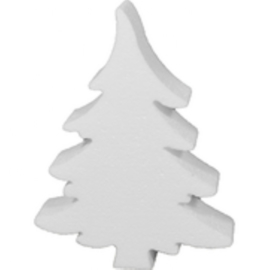 Tempex kerstboom 20 x 15 cm 5 stuks  - Wit