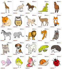Garderobe stickers - dieren,  25 stuks