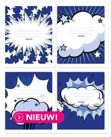 100x Schriften - Cartoon blauw  commerciaal 4 x 7,5 mm |