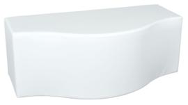 Witte poef in golfvorm zithoogte 44 cm