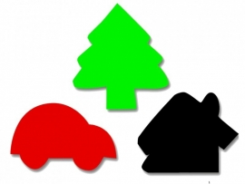 Plakfiguren jumbo huis, boom en auto