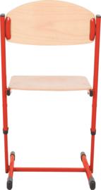 Len stoel met instelbare hoogte - maat 3-6 rood