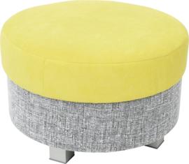 Ronde relax poef grijs/groen - vierkante poten