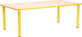 Rechthoekige Quint-tafel 115 x 65 cm met gele rand 40-58cm